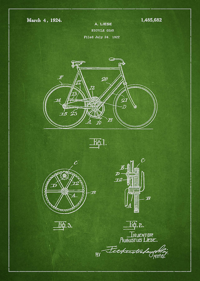Bicycle Gear Patent Drawing From 1922 Drawing