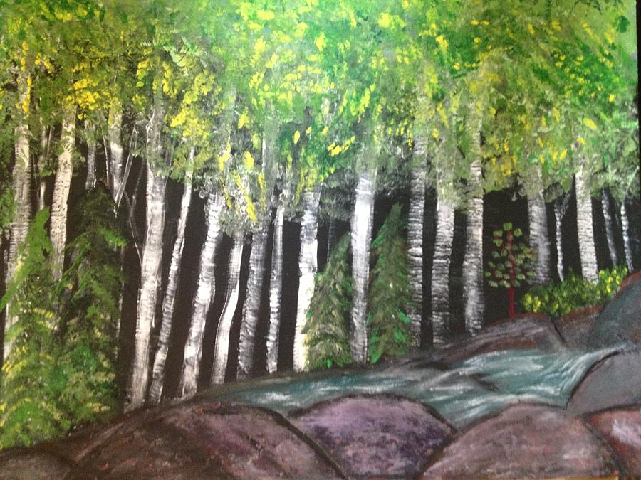 Birches By Falls Painting