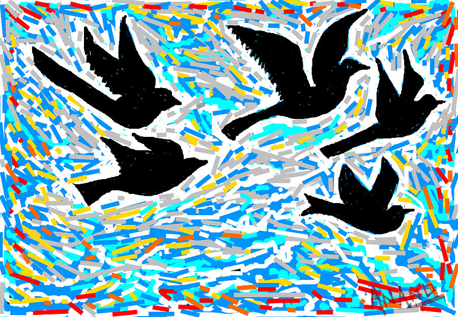 Birds In Flight Digital Art
