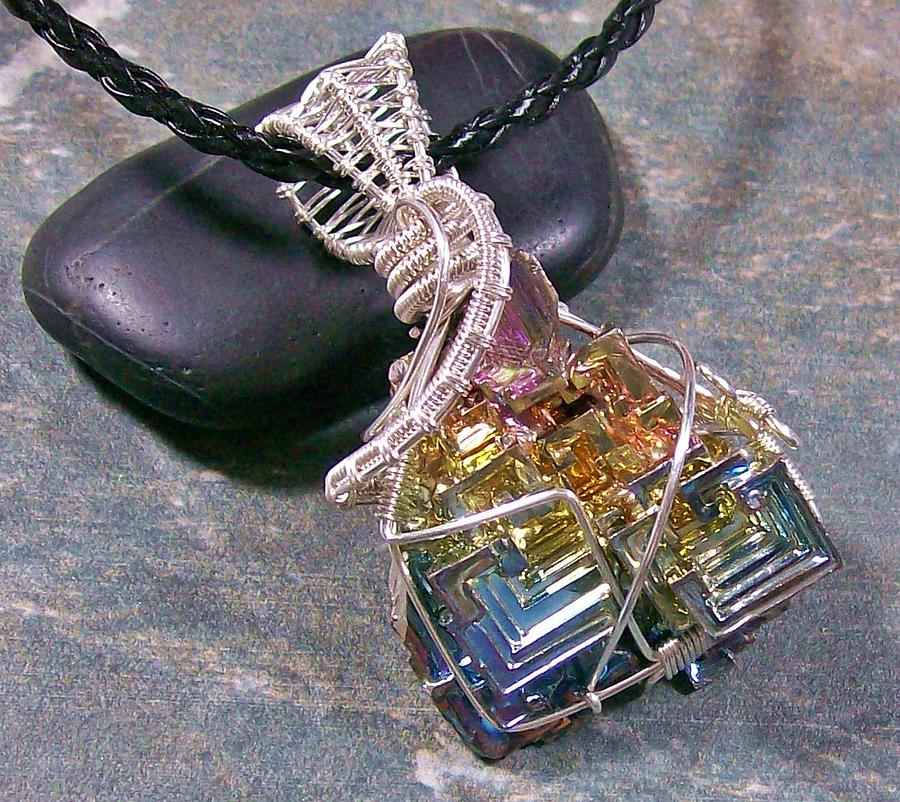 Bismuth Crystal And Silver Wire-wrapped Pendant Jewelry