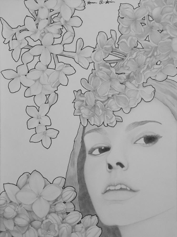Blooming Girl Lilac  Drawing  - Blooming Girl Lilac  Fine Art Print