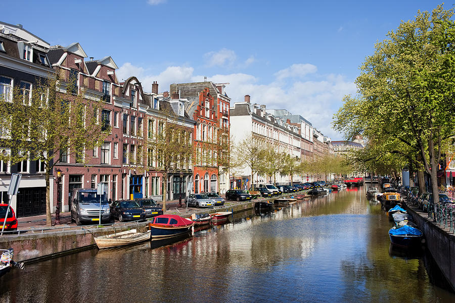 Boats On Amsterdam Canal Photograph  - Boats On Amsterdam Canal Fine Art Print