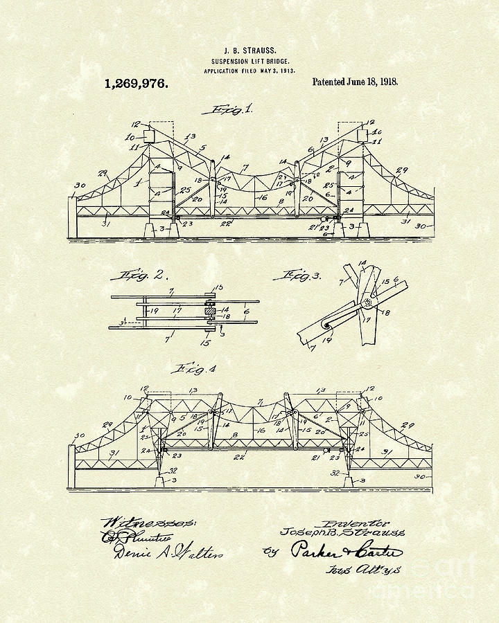 Bridge 1918 Patent Art Drawing
