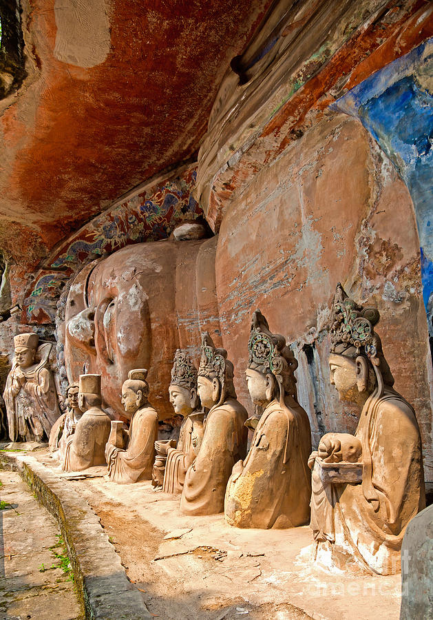 Buddhist statue at dazu stone carvings photograph by