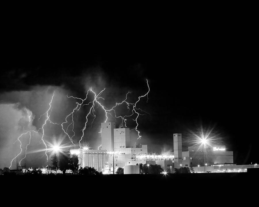 Budweiser Lightning Thunderstorm Moving Out Bw Photograph