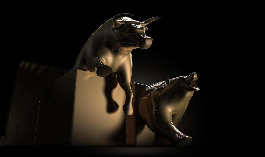 Bull And Bear Stock Market Statues Digital Art