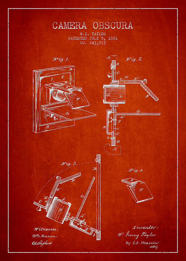 Camera Obscura Patent Drawing From 1881 Drawing
