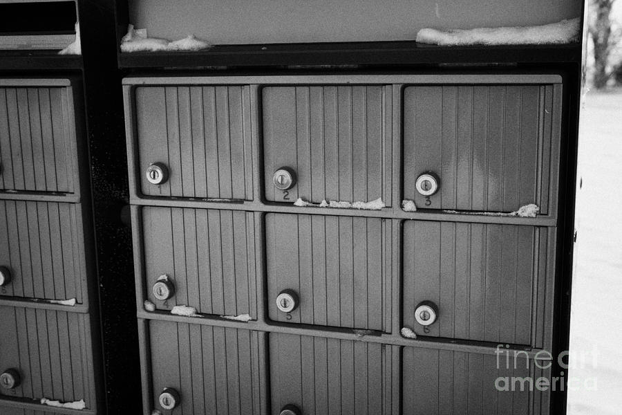 canada post post mailboxes in rural small town Forget Saskatchewan Canada Photograph