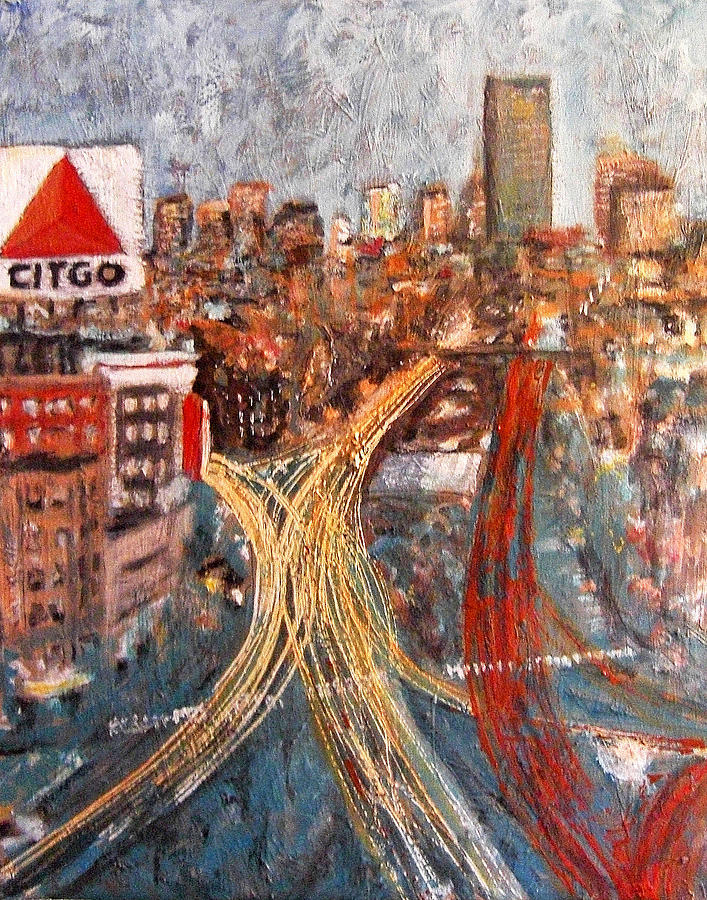 Boston Painting - Car Lights by Romina Diaz-Brarda