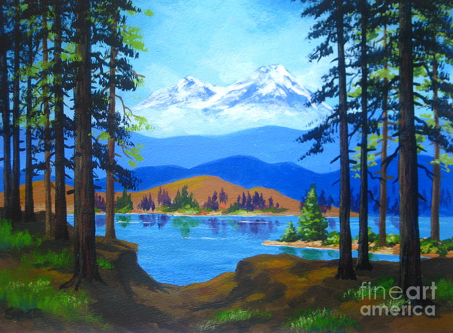 Cascade  Lake Painting  - Cascade  Lake Fine Art Print
