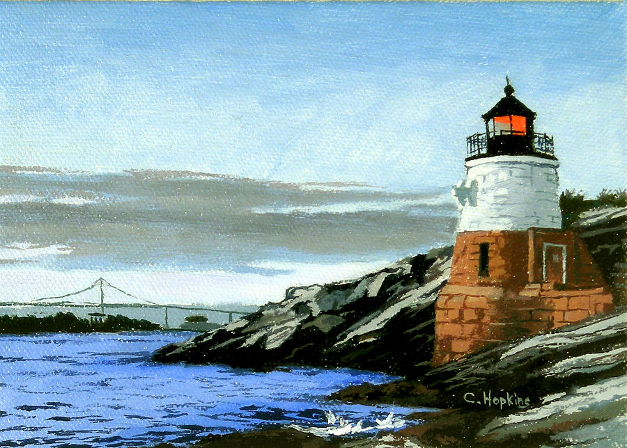 Castle Hill Lighthouse Newport Rhode Island Painting By