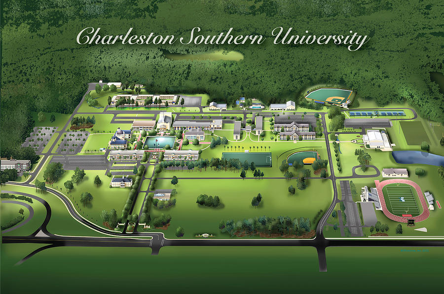 Charleston Southern University Drawing  - Charleston Southern University Fine Art Print