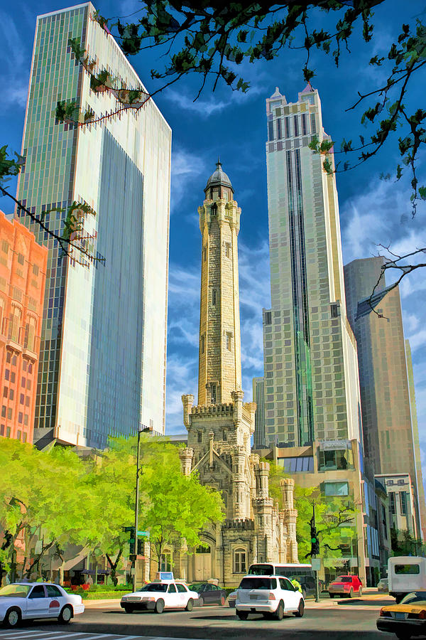 Chicago Painting - Chicago Water Tower Shopping by Christopher Arndt