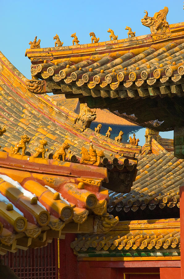 China Forbidden City Roof Decoration Photograph  - China Forbidden City Roof Decoration Fine Art Print