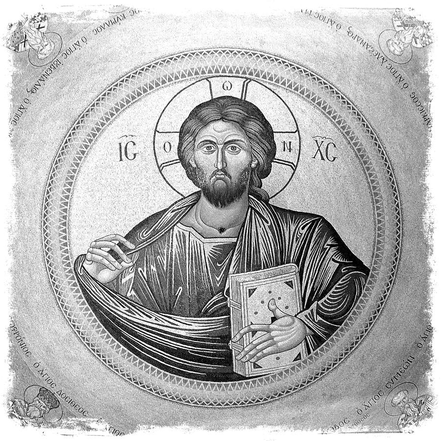 Christ Pantocrator Photograph - Christ Pantocrator In Black And White -- Church Of The Holy Sepulchre by Stephen Stookey