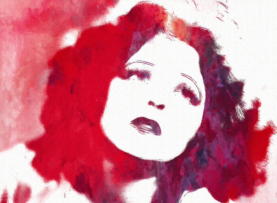 Clara Bow Famous Silent Movie Film Star Actress 20s 30s Vintage Portrait Painting Face Color Colorful Female Woman Girl Sex Symbol Erotic Painting - Clara Bow by Stefan Kuhn