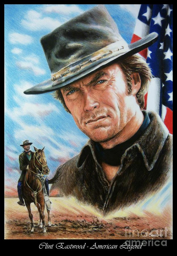 Clint Eastwood American Legend Painting  - Clint Eastwood American Legend Fine Art Print