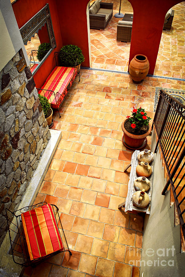 Courtyard Of A Villa Photograph