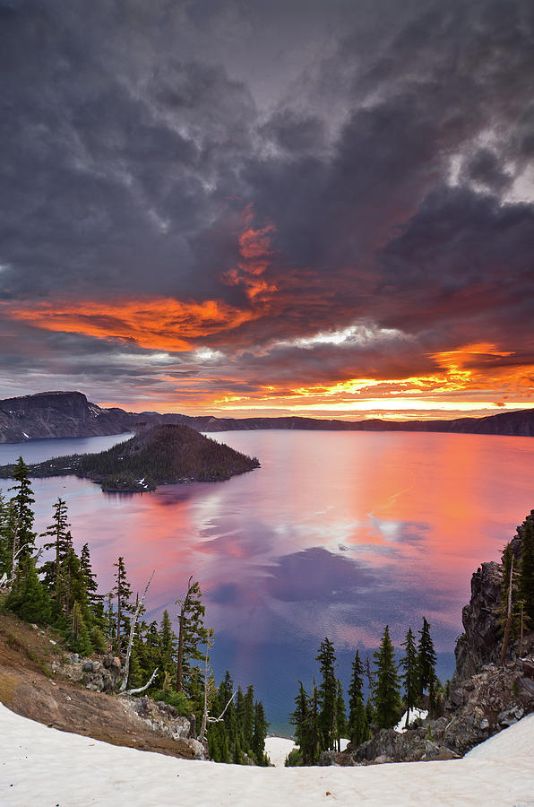 Crater Lake Dawn Photograph