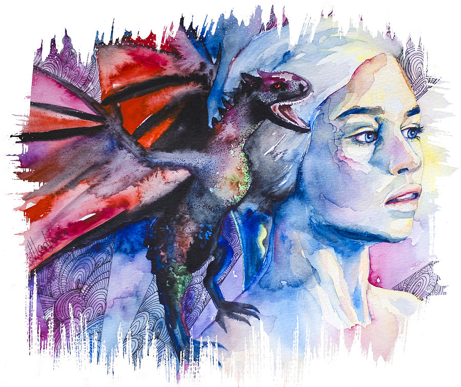 Daenerys Targaryen - Game Of Thrones  Painting  - Daenerys Targaryen - Game Of Thrones  Fine Art Print