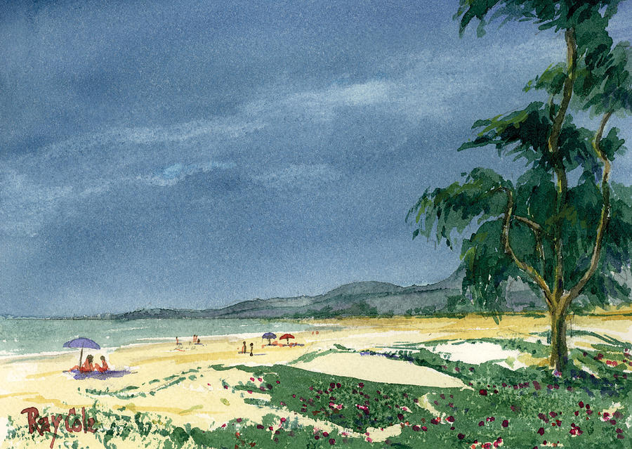 Beach Day Painting - Dark Sky by Ray Cole