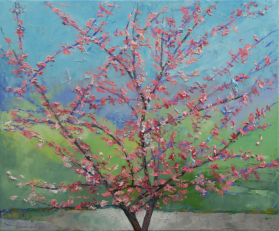 Eastern Painting - Eastern Redbud Tree by Michael Creese