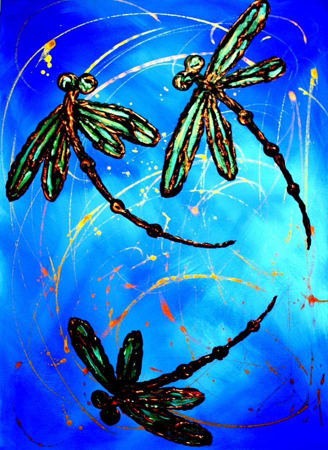 Electric Blue Dragonfly Flit Painting