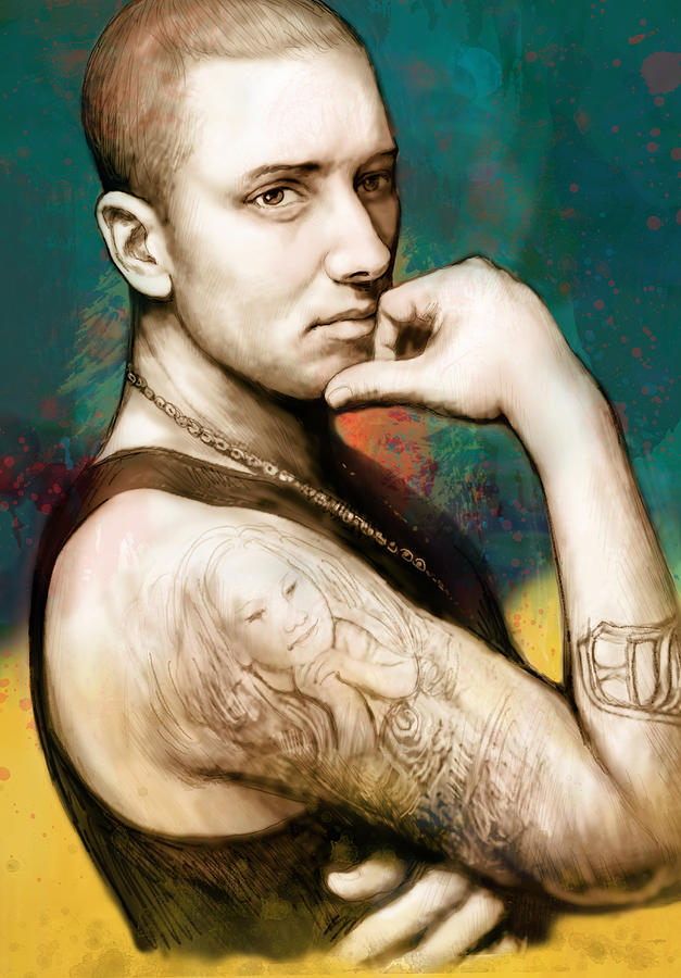 Eminem - Stylised Drawing Art Poster Drawing