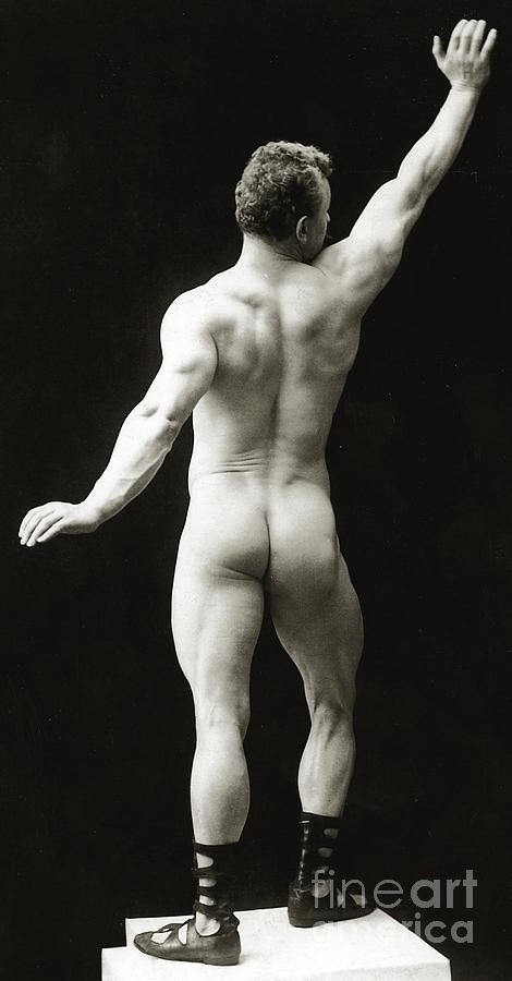 Eugen Sandow; Bodybuilder; Pioneer; Pioneering; Male; Physique; Competitor; Star; Competition; Body; Building; Pose; Posing; Model; Moustache; Nude; German; Ziegfeld Follies; Follies; Ideal; Standard; Modelling; Nude; Back; Buskin; Buskins; Body Builder; Body Building Photograph - Eugen Sandow In Classical Ancient Greco Roman Pose by American Photographer