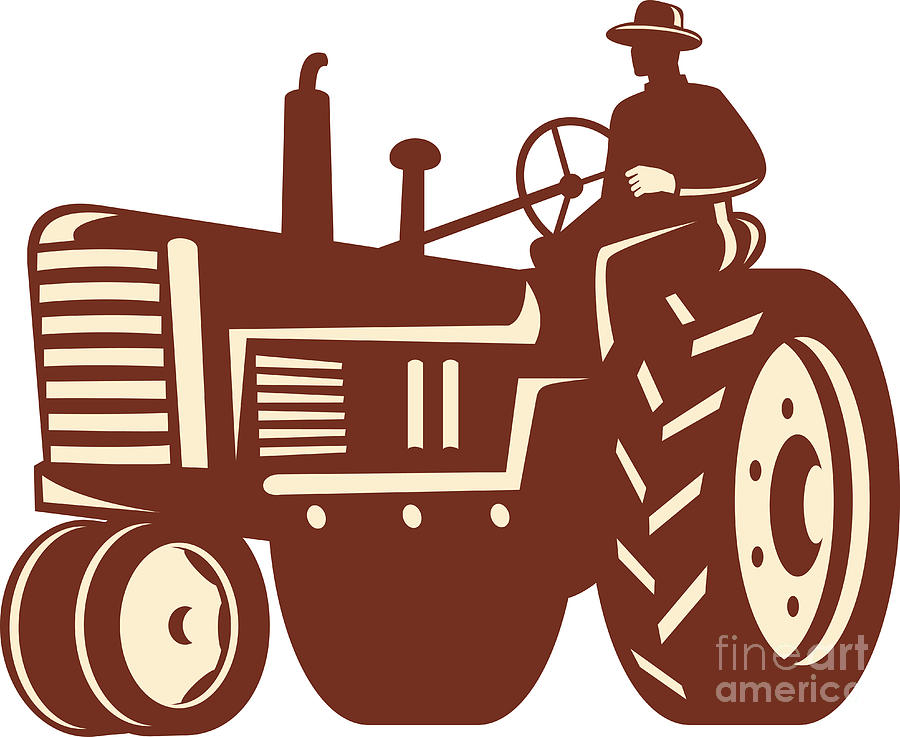 Farmer Driving Vintage Tractor Retro Digital Art