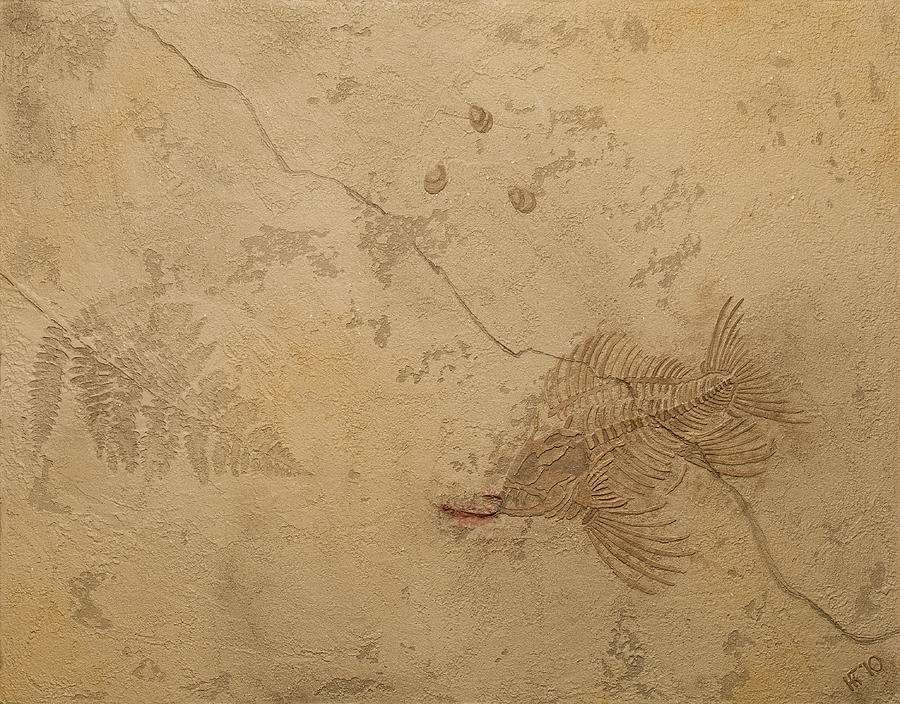 Fish Fossil Art Plaster Archaeology Paleontology Shell Limestone Ichthyology Bones Humor Plant Ancient Rocks Geology Prehistoric Plaster Skeleton Skull Death Canvas Anachronism Painting - Fish Out Of Water by Katie Fitzgerald