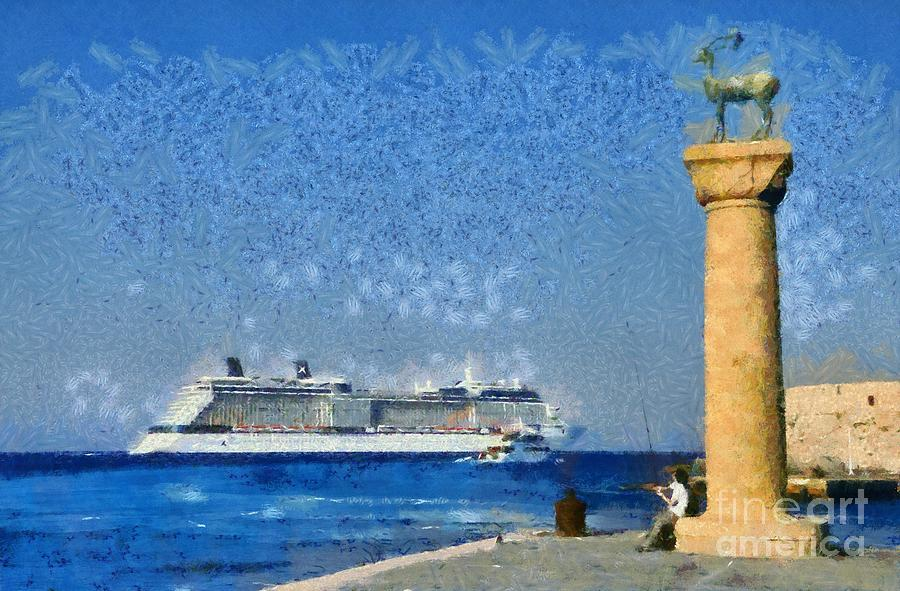 Fishing At The Entrance Of Mandraki Port Painting