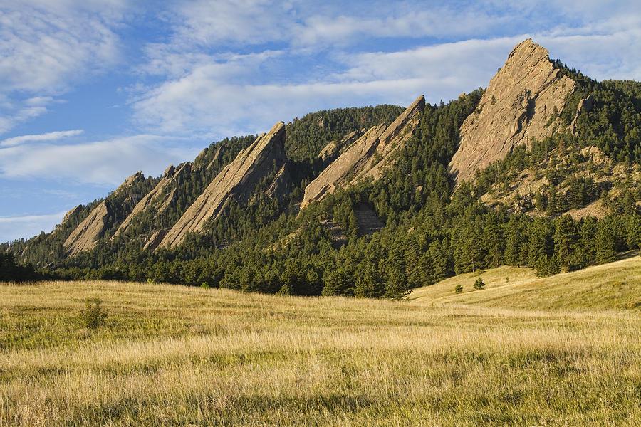Flatirons With Golden Grass Boulder Colorado Photograph