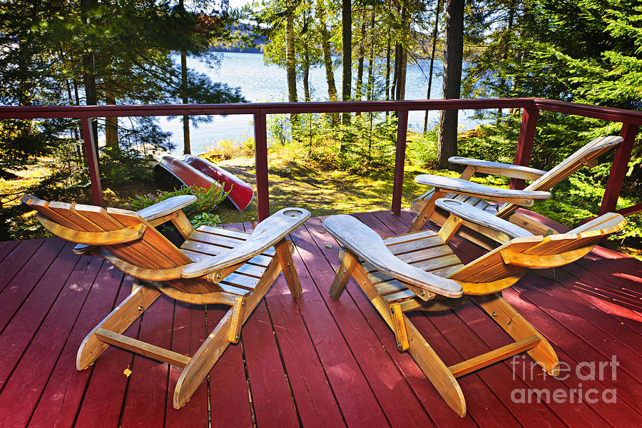 Forest Cottage Deck And Chairs Photograph  - Forest Cottage Deck And Chairs Fine Art Print