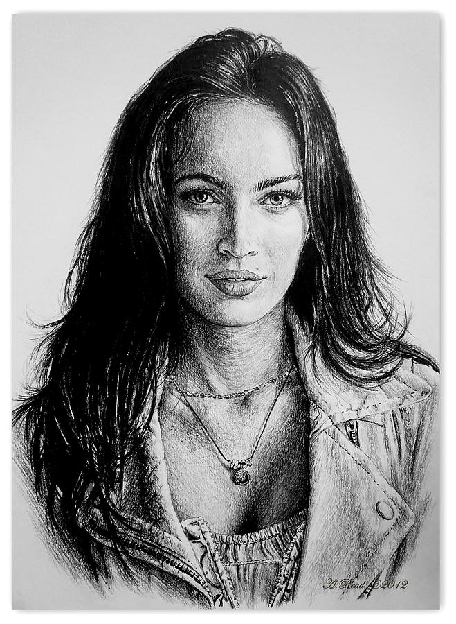 Megan Fox Drawing - Foxy by Andrew Read