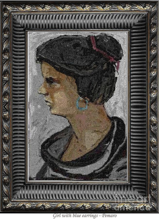 Girl With Blue Earrings Painting