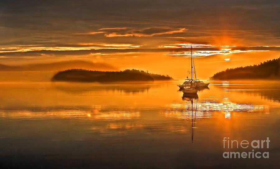 San Juan Island Photograph - Golden  Sunrise by Robert Bales