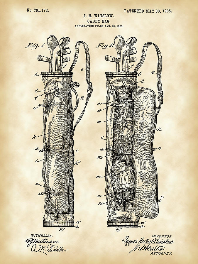 Golf Bag Patent Digital Art
