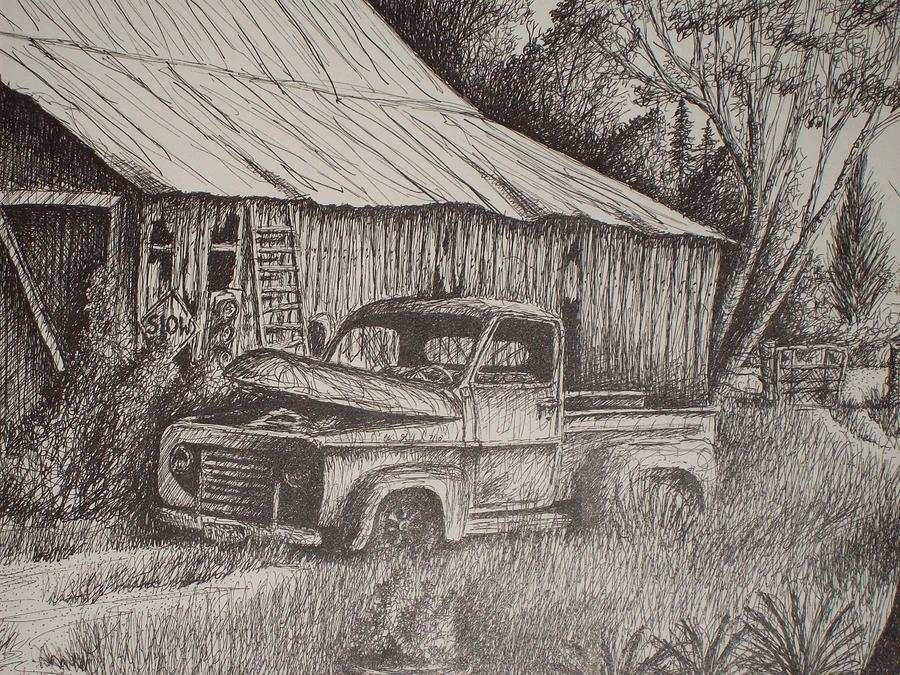 Grandpas Old Barn With Chevy Truck Drawing