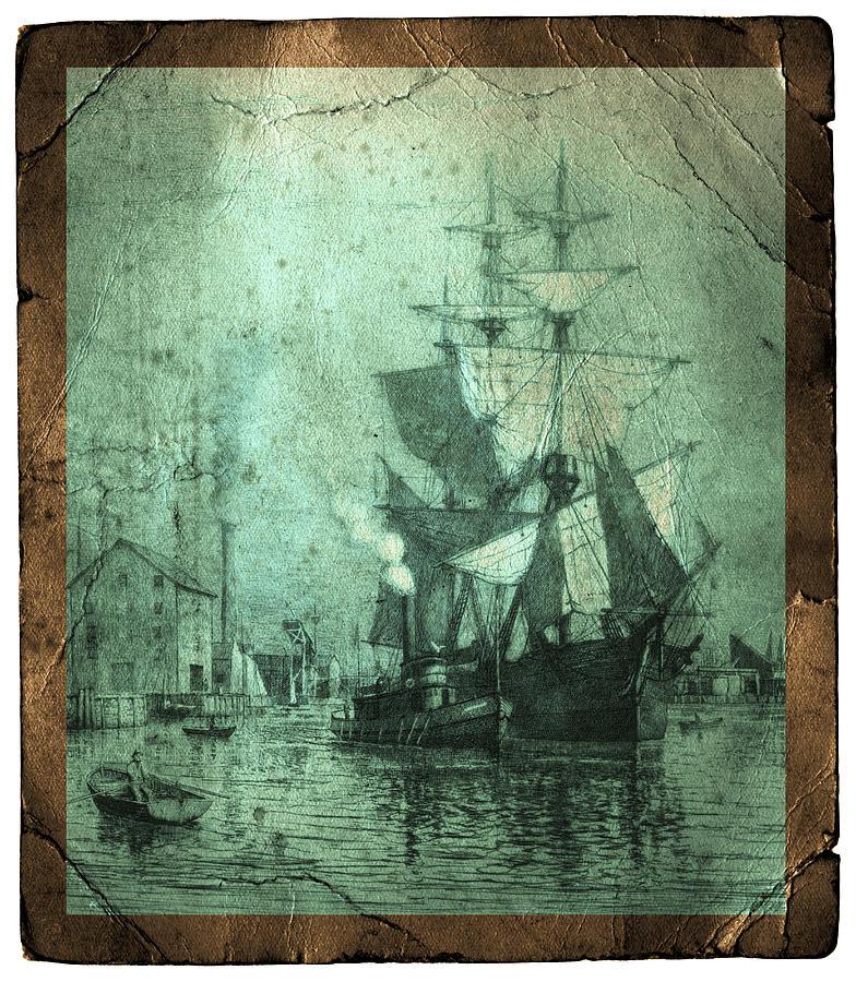 Schooner Photograph - Grungy Historic Seaport Schooner by John Stephens