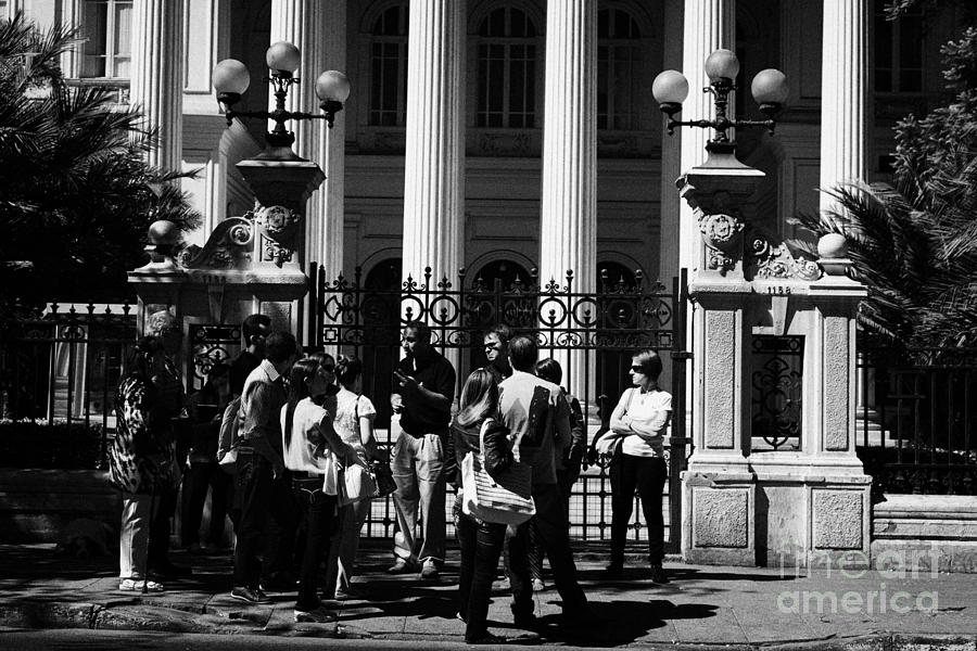 guided tour group outside the former national congress building Santiago Chile Photograph
