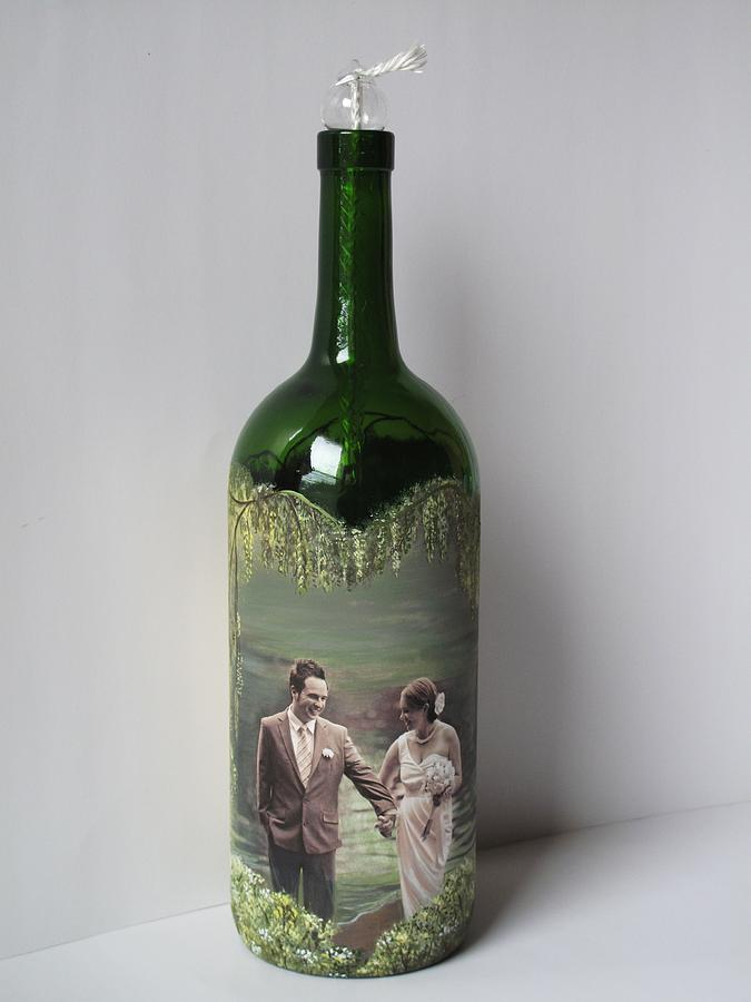 hand painted wine bottle with your photo mixed media