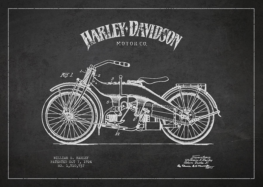 Harley Davidson Motorcycle Patent Drawing From 1924 Drawing