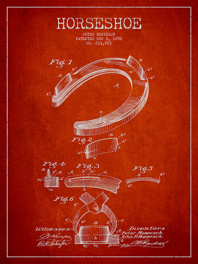 Horseshoe Patent Drawing From 1898 Drawing