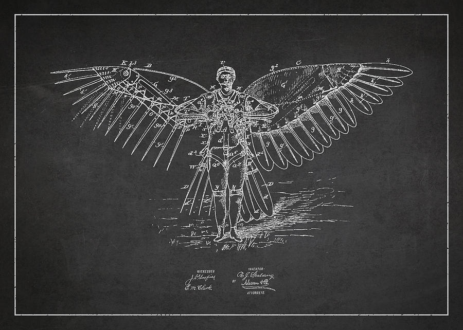 Icarus Drawing - Icarus Flying Machine Patent Drawing Front View by Aged Pixel