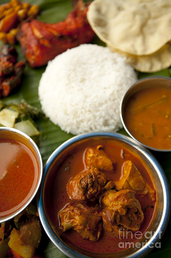 Indian cuisine chicken curry banana leaf meal photograph for Art of indian cuisine