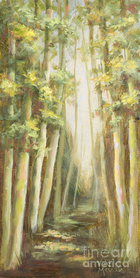 Woods Painting - Into The Woods-series With Gold Leaf By Vic Mastis by Vic  Mastis