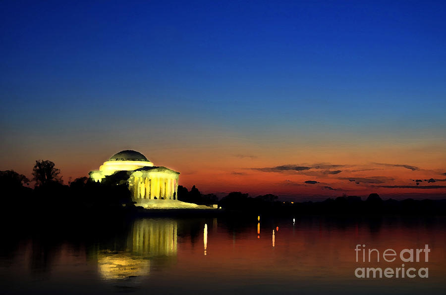 Jefferson Monument Reflection Mixed Media