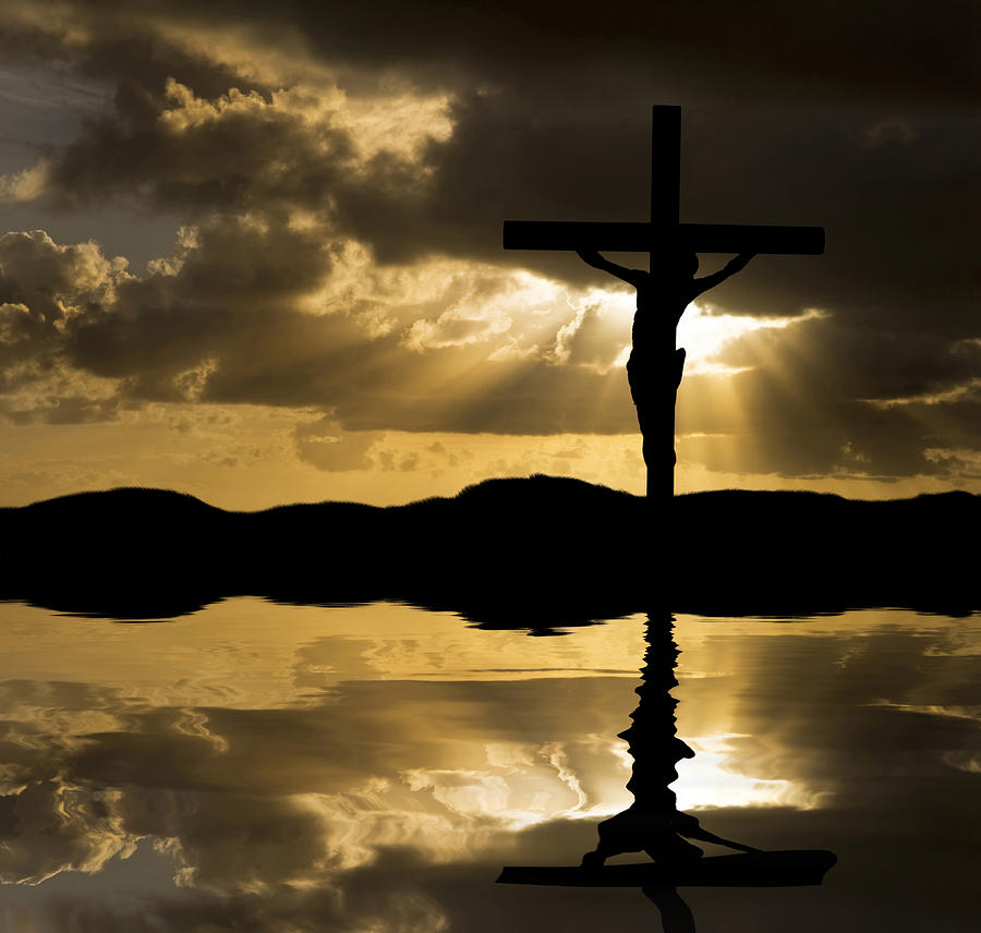Jesus Christ Crucifixion On Good Friday Silhouette Reflected In  Photograph