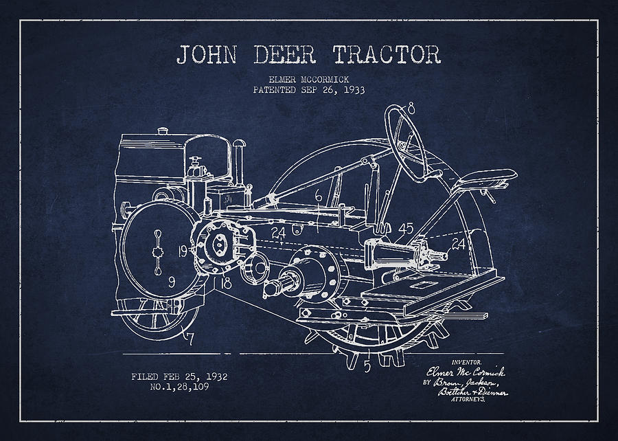 Tractor Drawing - John Deer Tractor Patent Drawing From 1933 by Aged Pixel